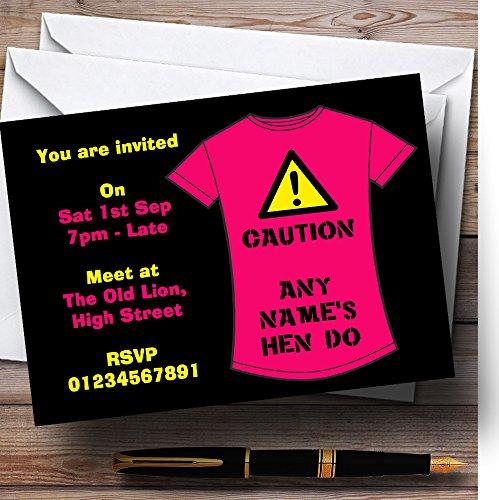 Hen Party Nodigt Funny Caution T-shirt Gepersonaliseerde Hen Do Night Party Uitnodigingen met Enveloppen uit - Elke aangepaste tekst voor elke gelegenheid 100 Cards & Envelopes
