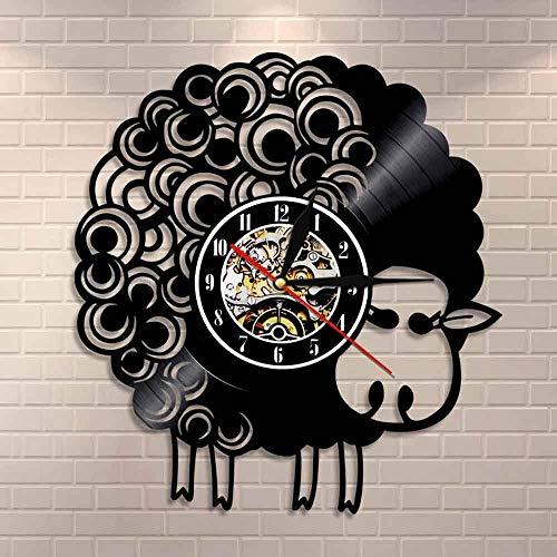 wtnhz LED-Reloj de Pared de Oveja Reloj de Pared de Granja Decoración del hogar Lana Oveja Arte Popular Reloj de Vinilo Reloj de decoración de Pared de guardería de Animales de Granja Reloj
