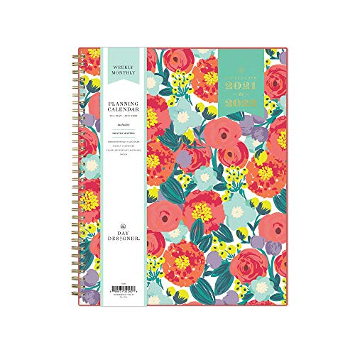 """Day Designer for Blue Sky 2021-2022 Academic Year Weekly & Monthly Planner, 8.5"""" x 11"""", Frosted Flexible Cover, Wirebound, Floral Sketch (132262)"""