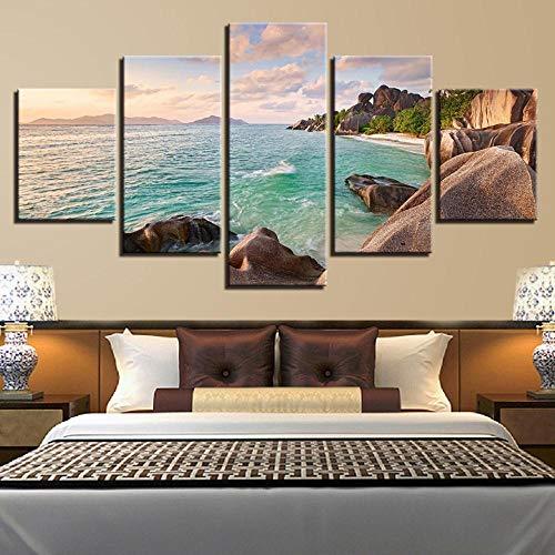 RuYun 5 met inkjet - strandrestaurant rotsachtige seascape schilderij slaapkamer sofa achtergrond decoratief schilderwerk canvas schilderij kantoren, schilderij kern 30x40cmx2 30x80cmx1 30x60cmx2, h233-2