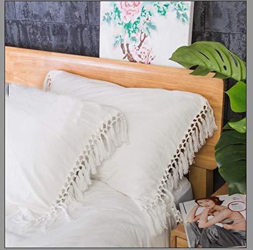 Meaning4 Weiß Kissenbezüge mit Fransen Borte Baumwolle Elfenbein Bettwäsche 40x 80 cm 2 Stück Dekorative