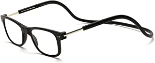 Magnet Reading Glasses Hanging Neck Magnetic Glasses Resin Reading Glasses Folding Portable Super high Old Reading Glasses (Color : Black, Size : +1.5X)