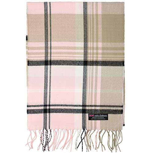 2 PLY 100% Cashmere Scarf Elegant Collection Made in Scotland Wool Solid Plaid (Pink Brown Black JSF)