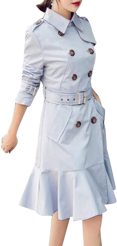 ROHEP Women's Elegent Double Breasted Skirted Windproof Overcoat
