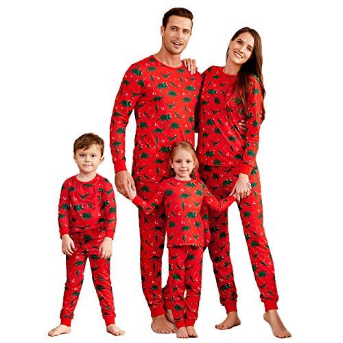 Yaffi Family Matching Pyjamas Set Festival Outfits Two Pieces Dinosaur Printed Nightwear for Mom Dad Kids Sleepwear PJs Lounge Wear Women: S Red