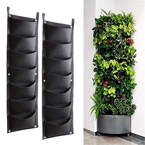 Bebester Wand-Pflanzbeutel, 2 Stück, 7 Taschen, Wandbehang, Pflanzung, Pflanzbeutel, für den Innen- und Außenbereich, vertikale Begrünung, Blumenbehälter, schwarze Pflanztasche