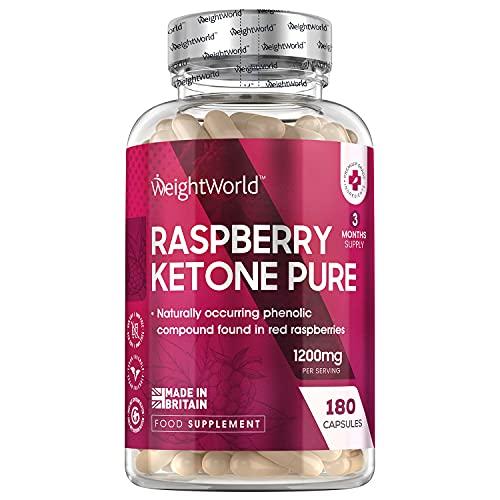 Cétone de Framboise Pure - 1200 mg - 180 Keto Gélules Vegan – 100% Naturel Raspberry Ketone Pure WeightWorld – Contient des composés phénoliques – Cétone de Framboise Ultra Pure Sans OGM ni Gluten
