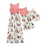 IFFEI Mommy and Me Dress Matching Outfits Floral Printed Sleeveless Tank Maxi Dress for Mother and Daughter 4-5 Years Pink-White