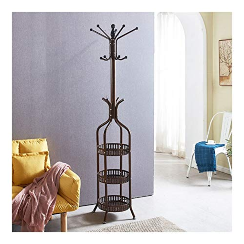 Jiji Coat Hooks Nordic Simple Metal Coat Rack Multi-layer Haak Coat Hat Rack Thuis Kleding Hanger Coat Stand Met 3-laags Opslag Mand kapstok