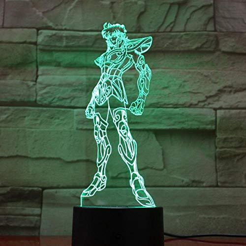 Heilige Seiya leidde nachtlichtidentiële carikatuurdecoratielamp meisjescadeau-nachtlampje Japanse anime-bureaulamp-slaapkamer