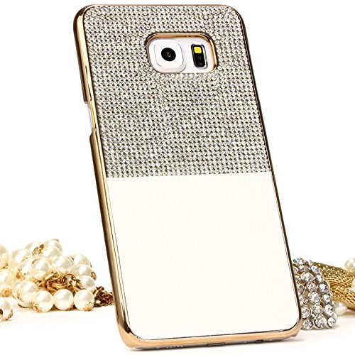 Urcover Custodia Compatibile con Samsung Galaxy S6 Edge Plus Back-Case Rigida con Strass Brillantini Cover Protettiva Guscio Glitter da Donna - Bianco