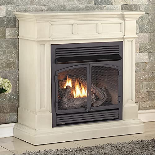 Duluth Forge Dual Fuel Ventless Gas Fireplace with Mantel - 32,000 BTU, Remote Control, Antique White Finish - Model# A-DFS-400R-2AW