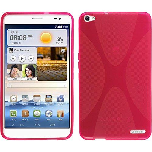 PhoneNatic Hülle kompatibel mit Huawei MediaPad X1 - pink Silikon Hülle X-Style + 2 Schutzfolien