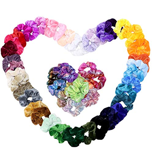 Vcostore 52Pcs Hair Scrunchies 40Pcs Colorful Velvet Hair Scrunchies 12Pcs Shiny Metallic Scrunchies Elastics Hair Bands for Women Girls Hair Accessories
