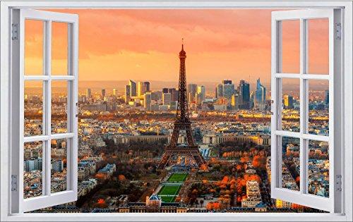Eiffelturm Paris Stadt Wandtattoo Wandsticker Wandaufkleber F0285 Größe 70 cm x 110 cm