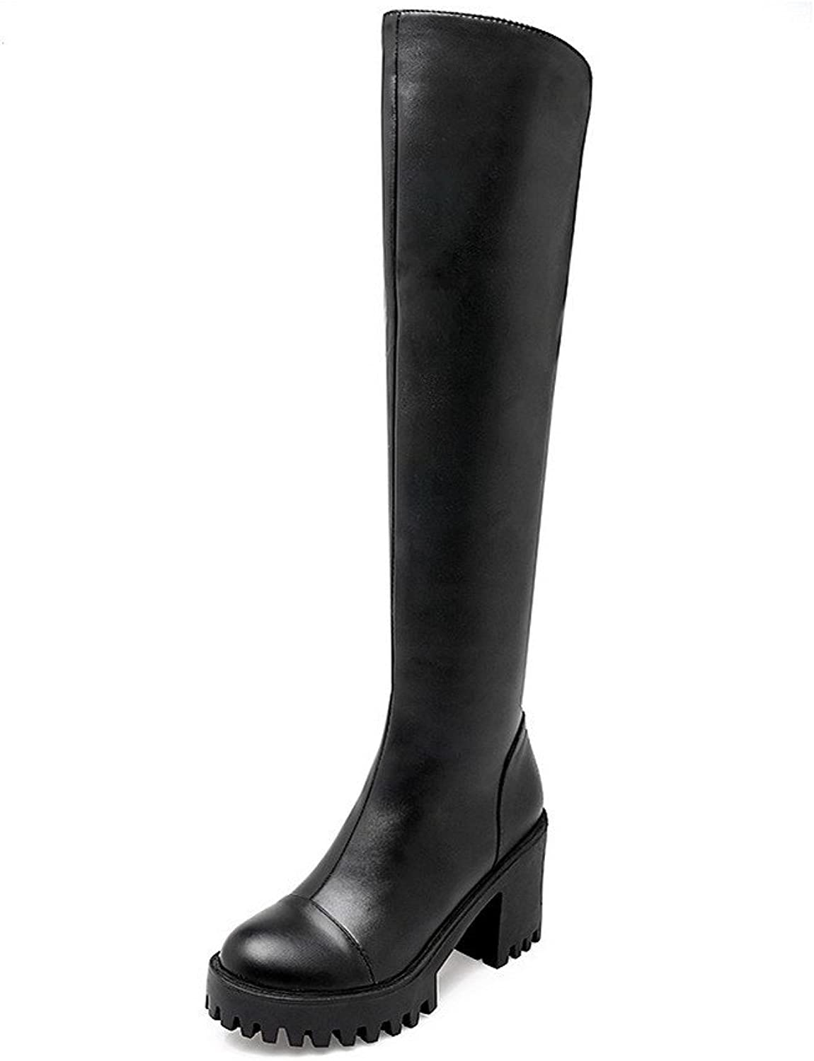 WeenFashion Women's High-Heels Solid Closed Round Toe Soft Material Zipper Boots