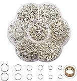 1500 Piezas Anillas Abiertas Anillas de Salto Accesorios de Fabricación de Bisutería para Collar Gargantilla Pulsera(Plateado) 4/5/6/7/8/10mm de diámetro, con una caja de plástico para llavero