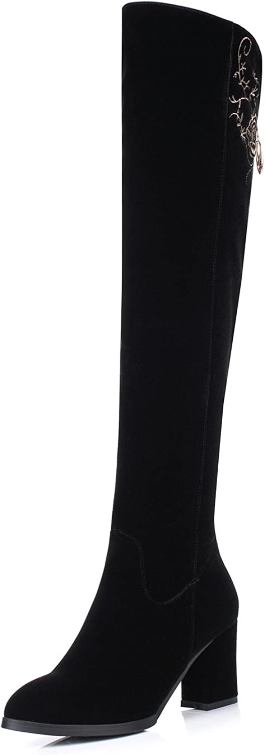 Lucksender Womens Embroidery Round Toe Side Zip Chunky High Heel Over The Knee Boots