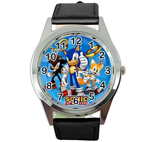 Taport® Quarzuhr schwarz Lederband rund für Sonic The Hedgehog Fans E2