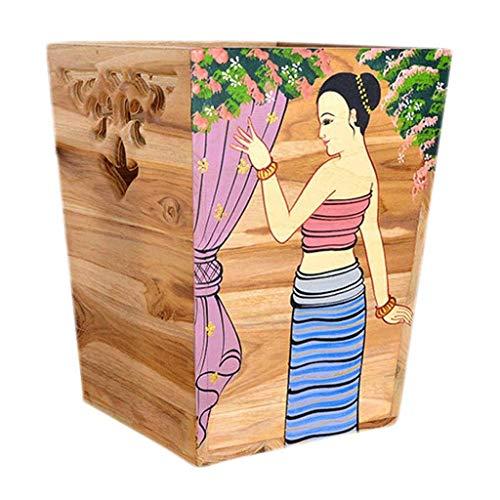 Bote de basura 1.6 galones de basura de madera natural del Cubo de la basura decorativa puede plaza Papelera Papelera de reciclaje for sala de estar Oficina Dormitorio Papelera Cesta de basura comerci