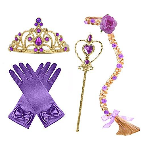 GenialES 4Pcs Prinzessin Verkleiden Dress Up Handschuhe Violett Diadem Perücke Zauberstab für Geburtstag Halloween Karneval-Partei Cosplay Mädchen