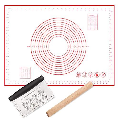 Silikon-Backmatte (50 * 70cm) & Buchenholz Nudelholz & Edelstahl Backen Teigschneider Teigschaber, für Gebäck, Pizza, Nudeln und Kekse, für Anfänger