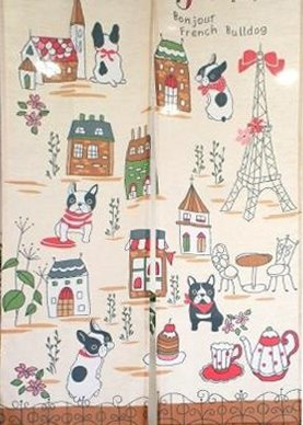 Japanese Noren Doorway Curtain Tapestry with French Bulldog and Paris Eiffel Tower in France with Afternoon Tea