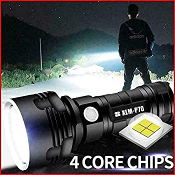 Lampe de poche étanche LED haute puissance 30000-100000 lumens, Ultra lumineuse 3 modes la plus puissante lampe de poche rechargeable USB XLM-P70 50W LED (50W XLM-P70, Double batterie au lithium)