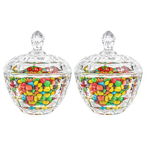 ComSaf Bomboneras de Cristal con Tapa - Conjunto de 2, Bote Cristal para Galletas Caramelo de Menta Tarro de Dulces Chuches(Diámetro: 11CM)