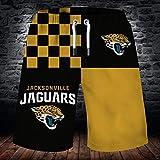 QWEIAS Pantalon de Plage Stretch pour Homme - NFL Jacksonville Jaguars 3D Gym Teen Shorts Summer Ventilation Fashion Sports Shorts - Gift Black+Yellow-XXXL