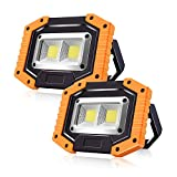Portable LED Work Lights,SONEE Rechargeable COB Work Light Waterproof LED Flood Light with Stand Built-in Power Bank Job Site Light for Indoor Outdoor Lighting (YELLOW/2PACK)