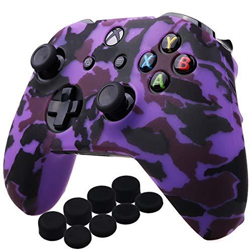 YoRHa Agua Transferir Impresión Camuflaje Silicona Cubrir la Piel Caso para Xbox One X/One S Mando x 1 (púrpura) con empuñaduras Pro x 8