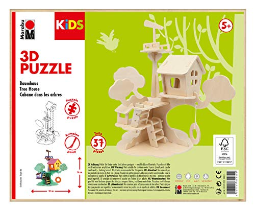Marabu 0317000000011 Kids 3D Wooden Puzzle Tree House 37 Pieces Approx. 28 x 26 cm