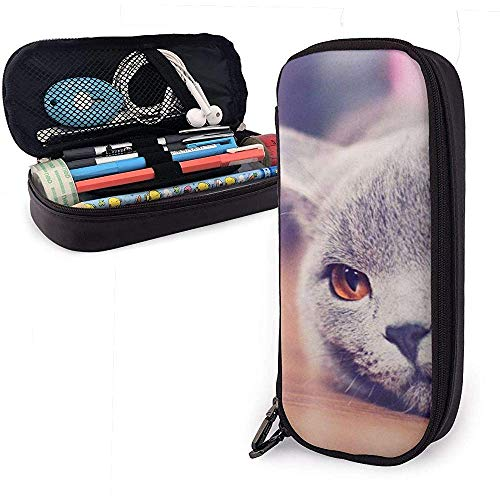 Lazy Cat PU Leather Pouch Storage Bags Student Pencil Office Stationery Bag Zipper Wallets Makeup Bag