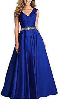 Jonlyc Women's A-Line Sleeveless V-Neck Beaded Long Satin Prom Bridesmaid Dresses