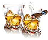 Bezrat Old Fashioned Whiskey Glass Tumbler With Side Mounted Holder (2Pack)