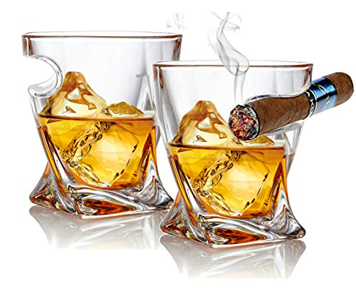Bezrat Cigar Whiskey Glass - Set of 2 - Old Fashioned Tumbler Glasses with Side Mounted Cigar Holder Rest - Christmas Gift