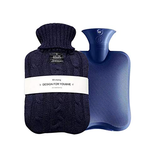 OliviaLiving Hot Water Bag Hot Water Bottle 1 Liter Heat Up and Refreezable Hot Cold Pack with Knit Cover for Pain Relief Hot Cold Therapy
