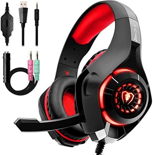 Auriculares para Juegos con micrófono con cancelación de Ruido, Almohadillas de Espuma de Memoria de Sonido para Juegos 3D para PC, versión móvil para computadora portátil Mac