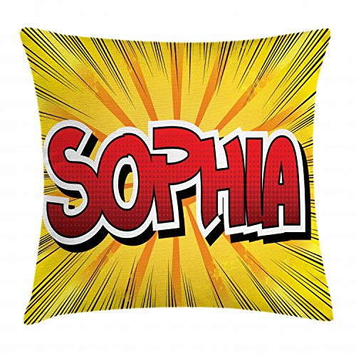 ABAKUHAUS Sophia Funda para Almohada, Cómic Retro Nombre Occidental, Material Lavable con Cremaller