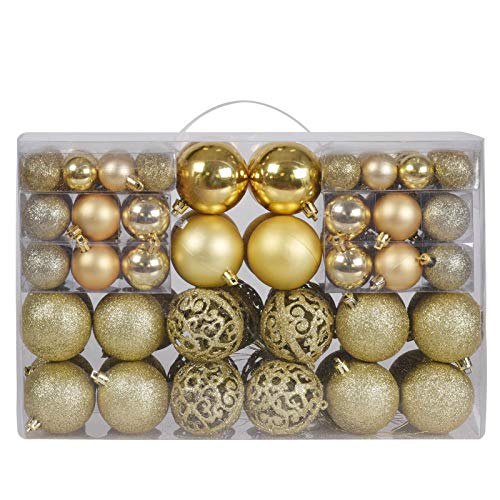 100ct Christmas Balls Tree Ornaments, Shatterproof Christmas Decorations Set with Reusable Hand-held Gift Package for Holiday Xmas Tree Decor (Gold)