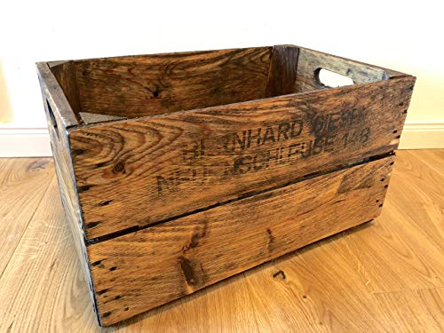 Wunderschöne, antike, liebevoll aufbereitete, geölte & gewachste alte Obstkiste/Apfelkiste/Birnenkiste aus Holz mit 2 Seitenbrettern aus dem Alten Land als Deko/Zeitungsständer/Aufbewahrung/Regal etc.