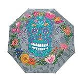 XiangHeFu Ombrello Funny Flower Skull 3 Pieghe Leggero Anti-UV