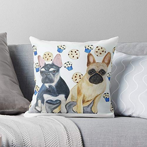 Animal Animals Watercolour French Dog Bulldog Dogs Frenchie -Animal - Decorative Pillow Cases Home Decor Customize Polyester Pillowcase Double Side Printed Customize