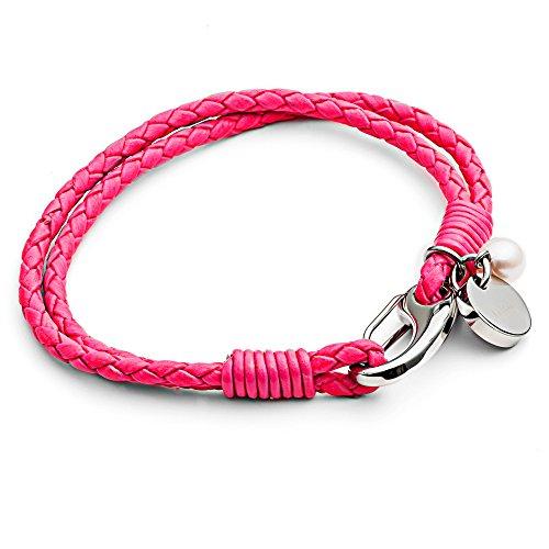 Tribal Steel, Damenarmband aus neon-pinkem Leder mit rundem Marken-Charm, Perle und Karabiner, 19cm lang