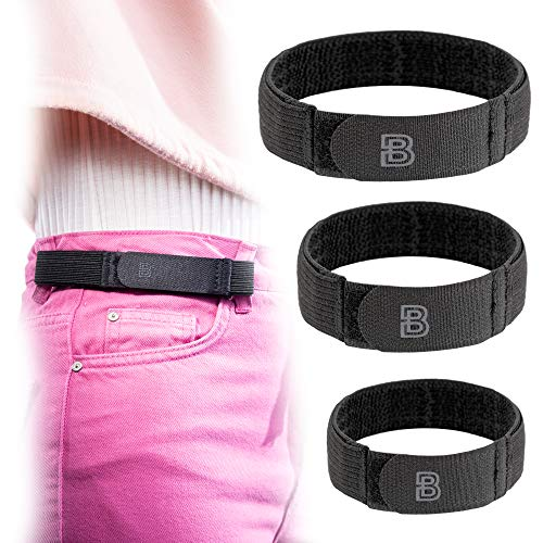 BeltBro For Women No Buckle Elastic Belt — 3 Pack (S, M, L) — Fits 1 Inch Belt Loops, Easy To Use