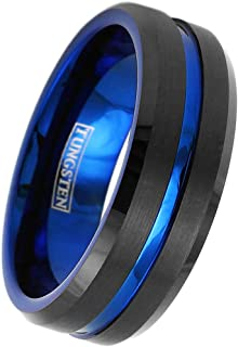 Gorgeous 6mm/8mm Brushed Satin Finish Piano Black Tungsten Carbide Band Ring w/Brilliant Thin Blue Line Stripe & Blue Inne...