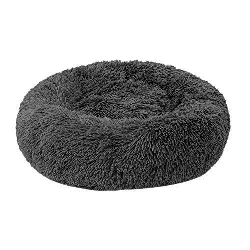 Festnight Haustierbett, Katzenbett Plüsch Haustierbett, Rundes Plüsch-Katzenbett-Hundehaus-Welpen-Kissen-tragbare warme weiche Bequeme Hundehütte 40/50/60/70/80/100CM (XXL, Dark Gray)