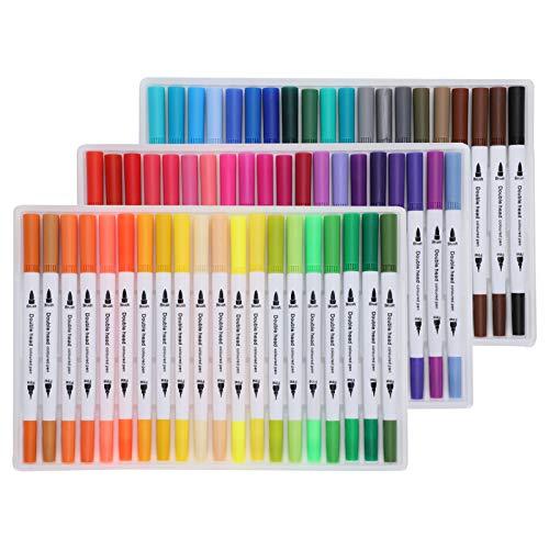 Marcadores de acuarela de pintura, marcadores de colores, delineador fino, pincel doble, suministros de arte para adultos para profesionales(STBG-60 color)
