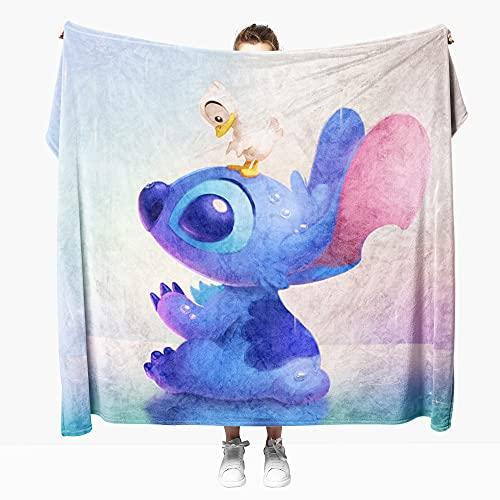 Mantas para Sofa Anime Stitch 100 × 130 cm, Mantas para Cama de Franela Reversible, Mantas Ligeras de 100% Microfibra - Fácil De Limpiar - Extra Suave Cálido